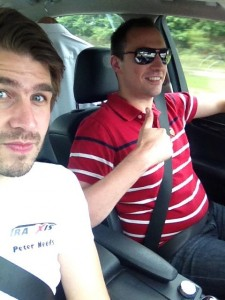Peter & Ward in the car on the way to Poland